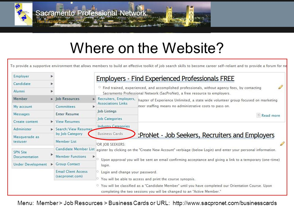 Sacramento Professional Network Hire Experience. Where on the Website.