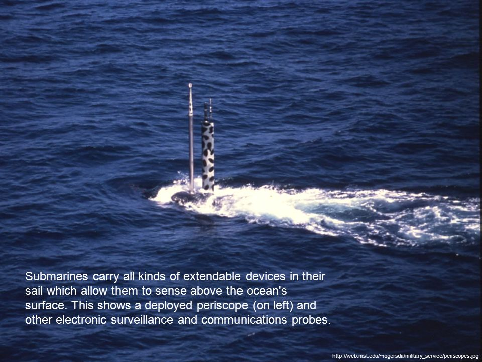 http://web.mst.edu/~rogersda/military_service/periscopes.jpg Submarines carry all kinds of extendable devices in their sail which allow them to sense