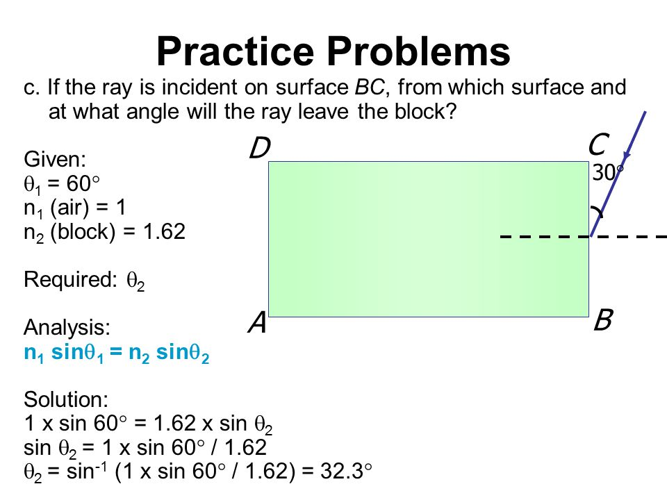 30  A B C D Practice Problems c. If the ray is incident on surface BC, from which surface and at what angle will the ray leave the block? Given:  1