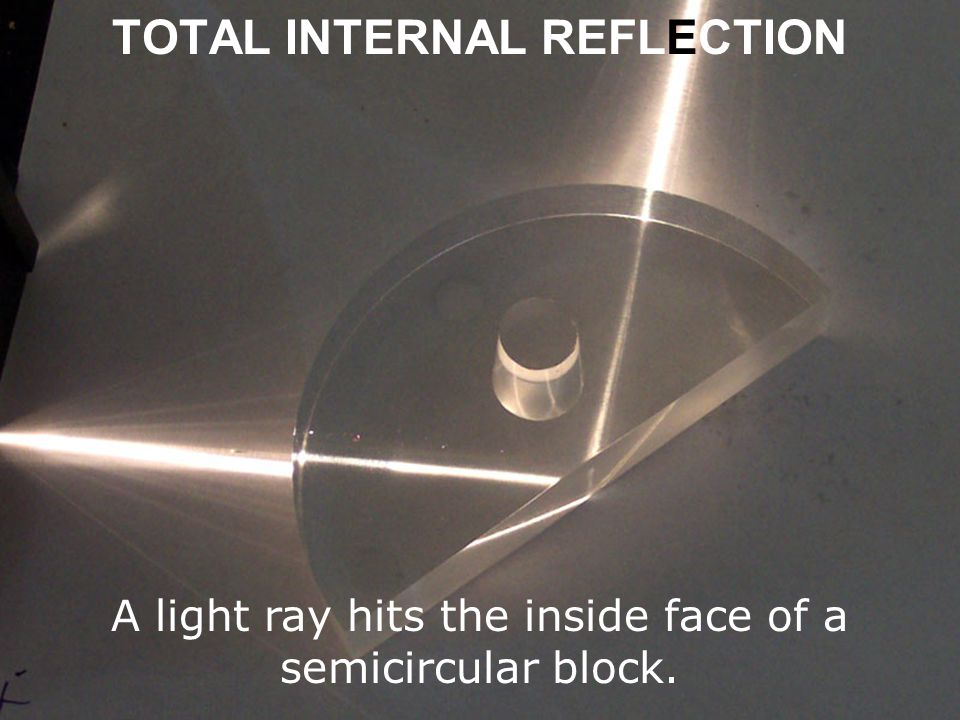 TOTAL INTERNAL REFLECTION A light ray hits the inside face of a semicircular block.