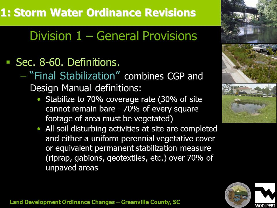 Land Development Ordinance Changes – Greenville County, SC Division 1 – General Provisions  Sec.