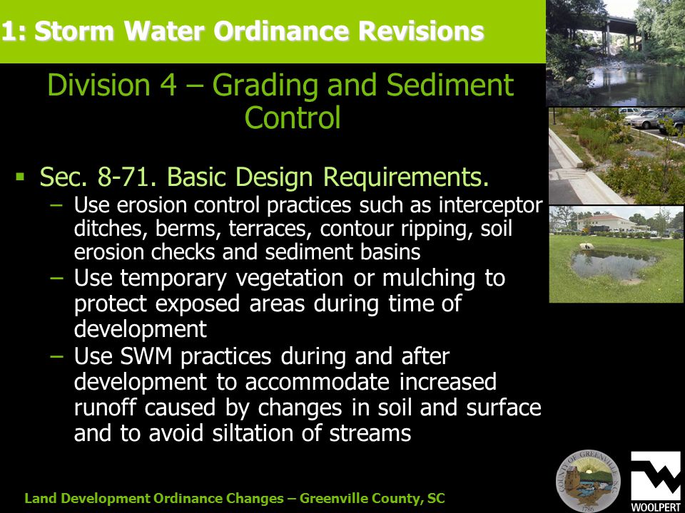 Land Development Ordinance Changes – Greenville County, SC Division 4 – Grading and Sediment Control  Sec.