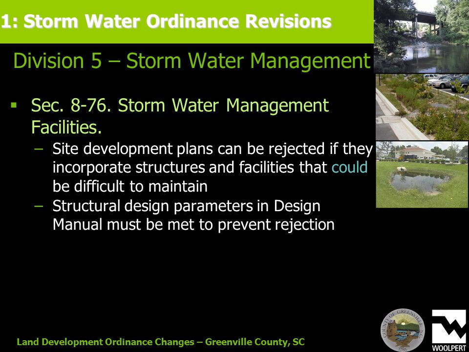 Land Development Ordinance Changes – Greenville County, SC Division 5 – Storm Water Management  Sec.