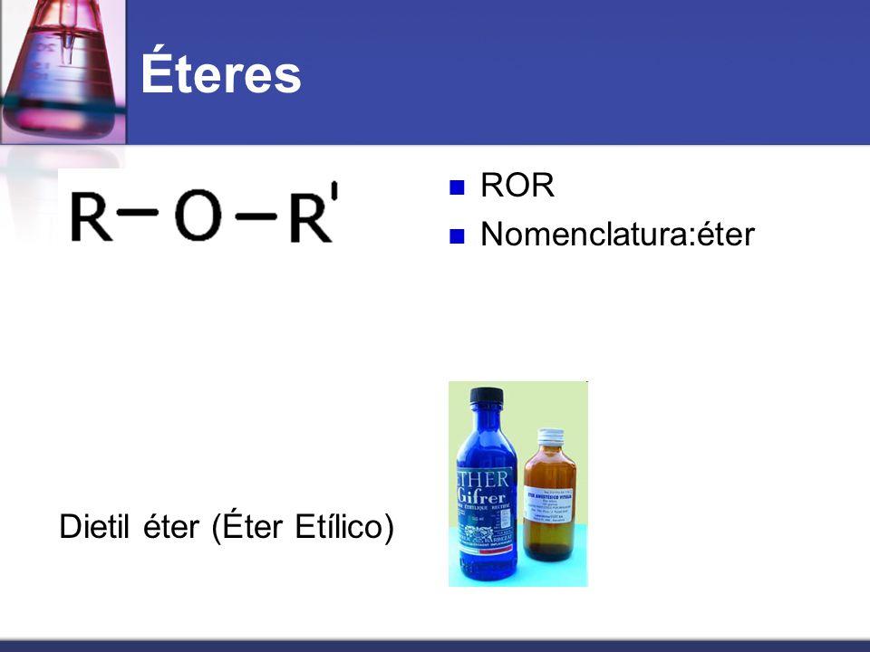 Éteres Dietil éter (Éter Etílico) ROR Nomenclatura:éter
