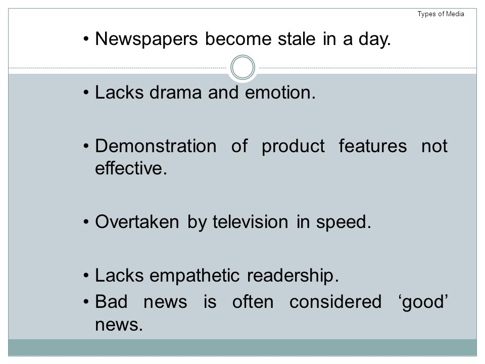 Newspapers become stale in a day.Lacks drama and emotion.