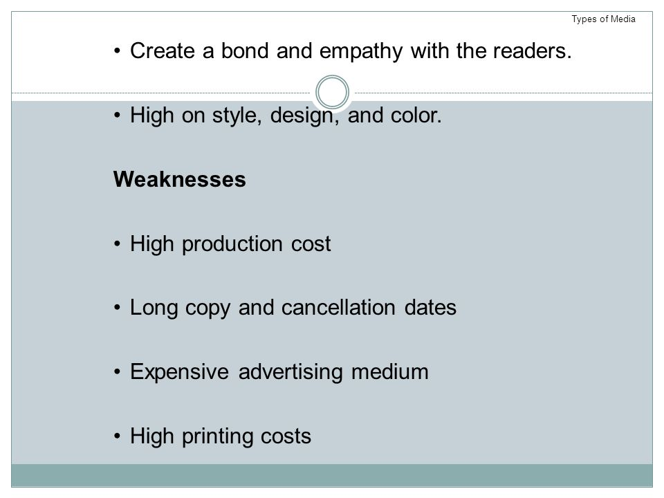 Create a bond and empathy with the readers.High on style, design, and color.