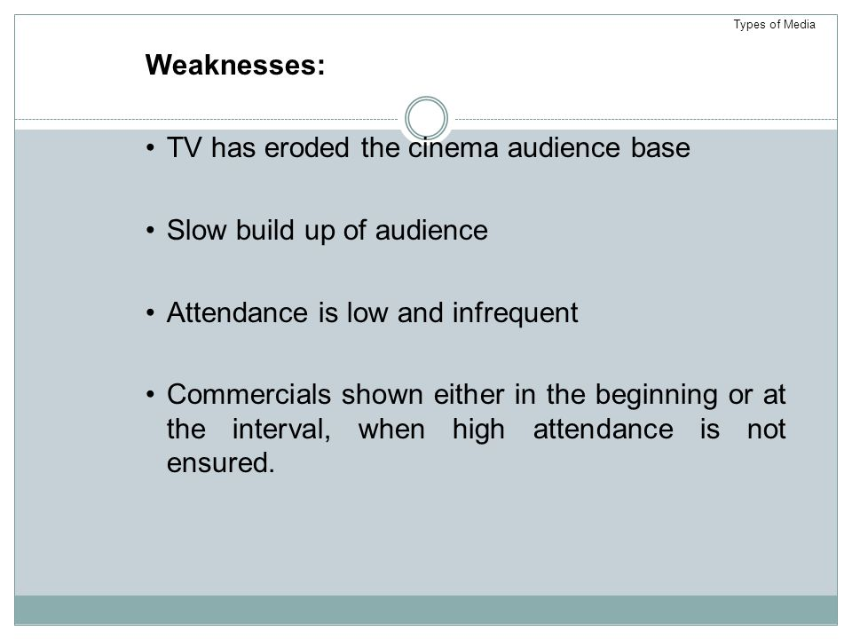 Weaknesses: TV has eroded the cinema audience base Slow build up of audience Attendance is low and infrequent Commercials shown either in the beginning or at the interval, when high attendance is not ensured.