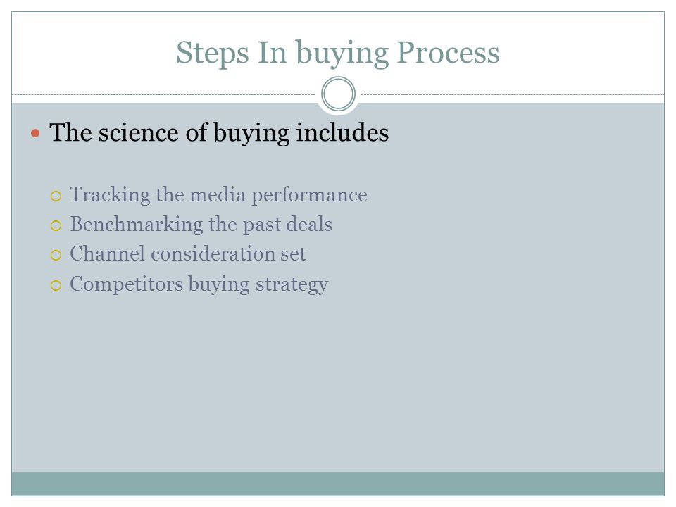 Steps In buying Process The science of buying includes  Tracking the media performance  Benchmarking the past deals  Channel consideration set  Competitors buying strategy