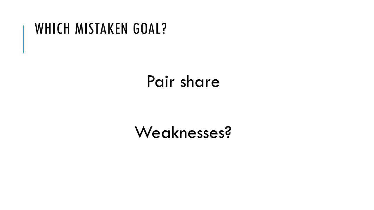 WHICH MISTAKEN GOAL Pair share Weaknesses