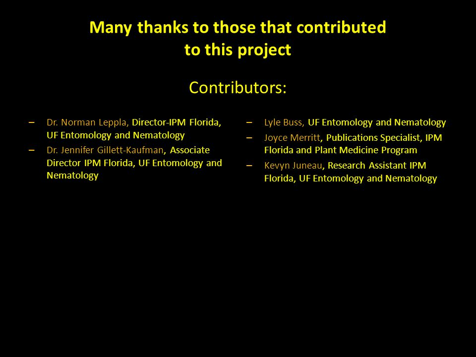 Many thanks to those that contributed to this project – Dr.