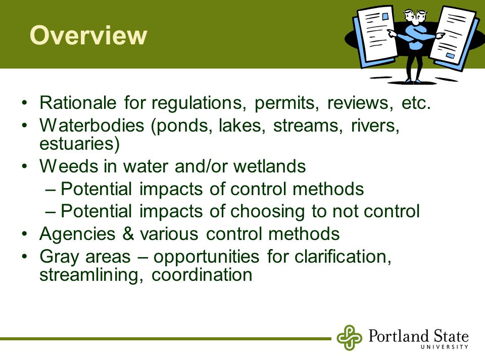 Overview Rationale for regulations, permits, reviews, etc.