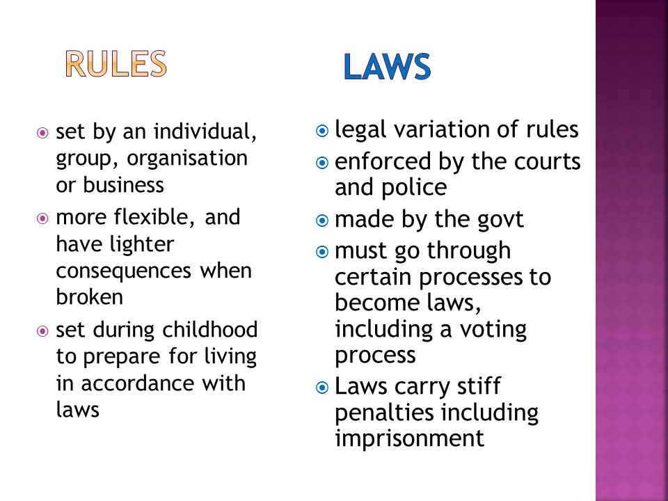  set by an individual, group, organisation or business  more flexible, and have lighter consequences when broken  set during childhood to prepare for living in accordance with laws  legal variation of rules  enforced by the courts and police  made by the govt  must go through certain processes to become laws, including a voting process  Laws carry stiff penalties including imprisonment