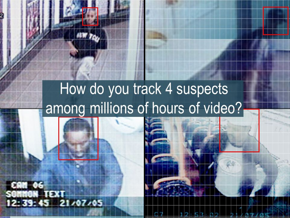 8 How do you track 4 suspects among millions of hours of video