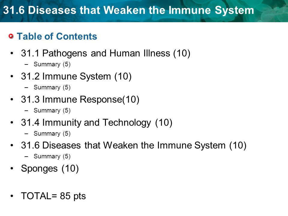 31.6 Diseases that Weaken the Immune System Table of Contents 31.1 Pathogens and Human Illness (10) –Summary (5) 31.2 Immune System (10) –Summary (5) 31.3 Immune Response(10) –Summary (5) 31.4 Immunity and Technology (10) –Summary (5) 31.6 Diseases that Weaken the Immune System (10) –Summary (5) Sponges (10) TOTAL= 85 pts