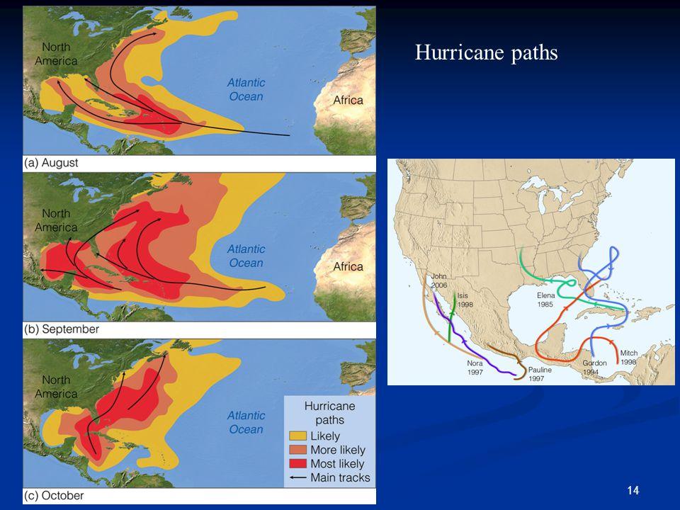 14 Hurricane paths