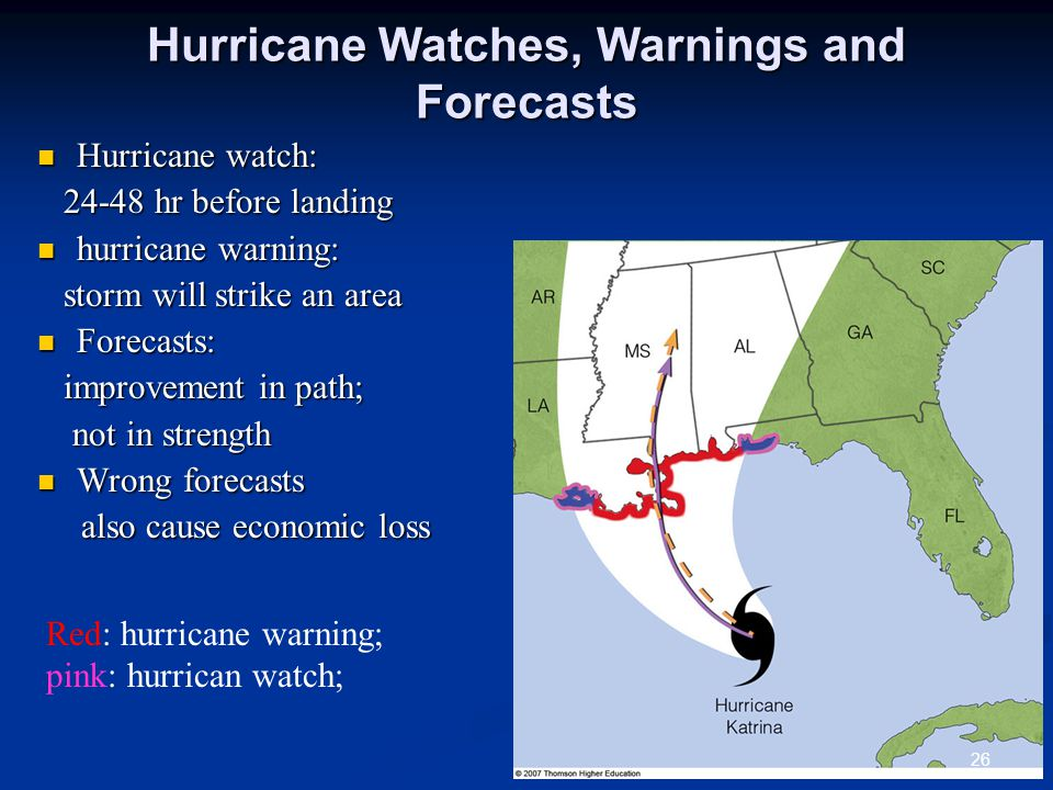 Hurricane Watches, Warnings and Forecasts Hurricane watch: Hurricane watch: 24-48 hr before landing 24-48 hr before landing hurricane warning: hurricane warning: storm will strike an area storm will strike an area Forecasts: Forecasts: improvement in path; improvement in path; not in strength not in strength Wrong forecasts Wrong forecasts also cause economic loss also cause economic loss 26 Red: hurricane warning; pink: hurrican watch;
