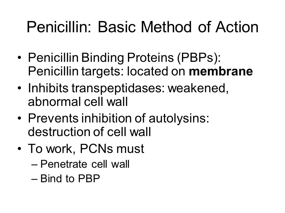 Narrow Spectrum Penicillinase Resistant PCNs Used for staphylococcus 90% of staph produces penicillinase MRSA: resistance by altering PBPs Agents –Nafcillin, Oxacillin, Cloxacillin, Dicloxacillin –Methicillin (no longer available in U.S.)