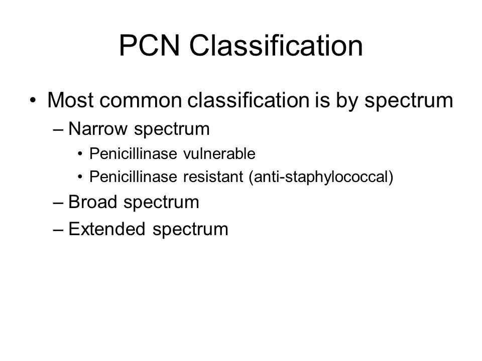 Prototypical PCN Pencillin G: first discovered –Bacteriocidal to gram + and some gram – –Narrow spectrum –Penicillinase senstitive (vulnerable) Uses: –Pneumonia and meningitis (strep pneumo) –Strep pyogenes (strep throat, scarlet fever, endocarditis, flesh eating bacteria) –Syphillis (Treponema pallidium)