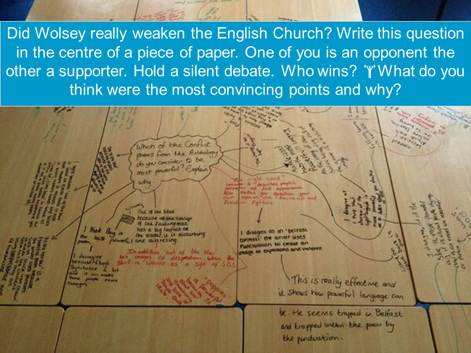 Did Wolsey really weaken the English Church. Write this question in the centre of a piece of paper.