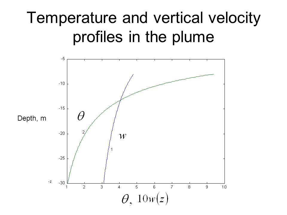 Temperature and vertical velocity profiles in the plume Depth, m