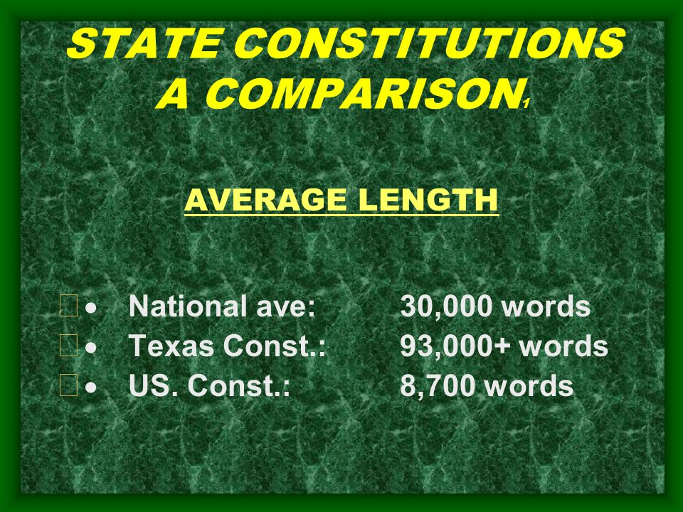 STATE CONSTITUTIONS A COMPARISON 1 AVERAGE LENGTH   National ave: 30,000 words   Texas Const.:93,000+ words   US.