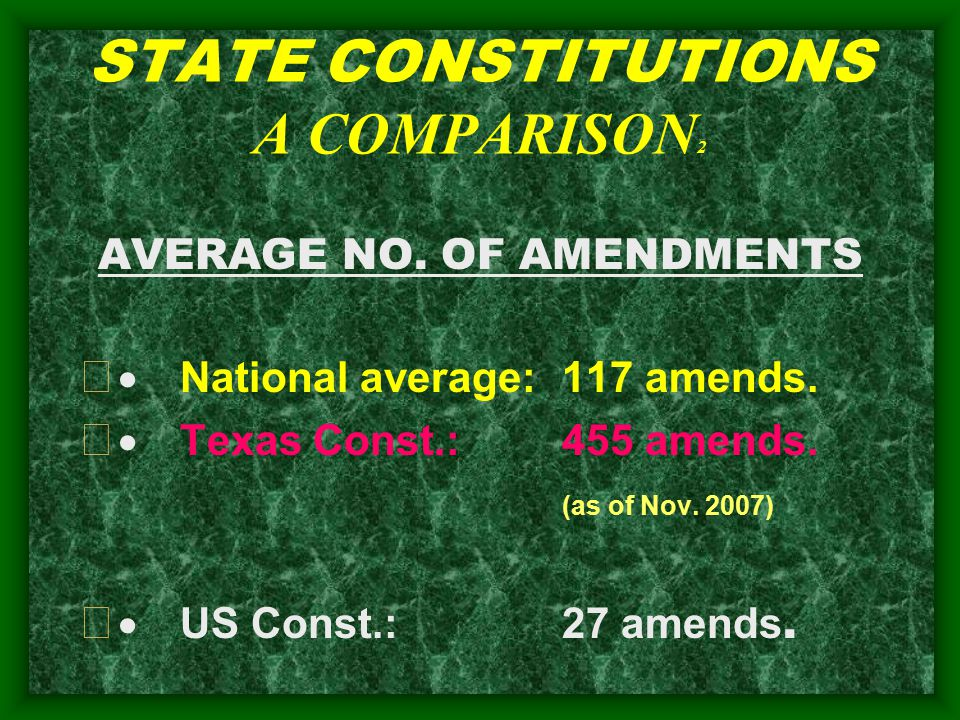 STATE CONSTITUTIONS A COMPARISON 2 AVERAGE NO. OF AMENDMENTS   National average:117 amends.
