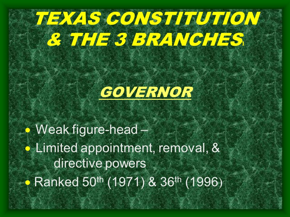 TEXAS CONSTITUTION & THE 3 BRANCHES 1 GOVERNOR  Weak figure-head –  Limited appointment, removal, & directive powers  Ranked 50 th (1971) & 36 th (1996 )
