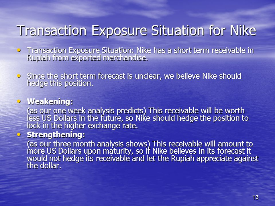 13 Transaction Exposure Situation for Nike Transaction Exposure Situation: Nike has a short term receivable in Rupiah from exported merchandise. Trans