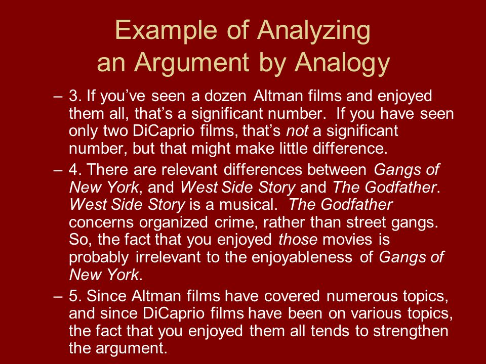 Example of Analyzing an Argument by Analogy –3.