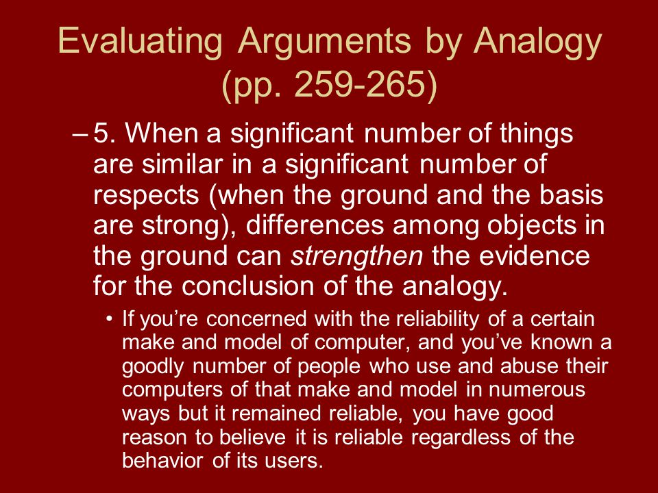 Evaluating Arguments by Analogy (pp. 259-265) –5.