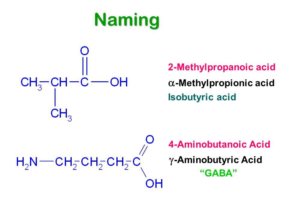 2-Methylpropanoic acid  -Methylpropionic acid Isobutyric acid 4-Aminobutanoic Acid  -Aminobutyric Acid GABA Naming