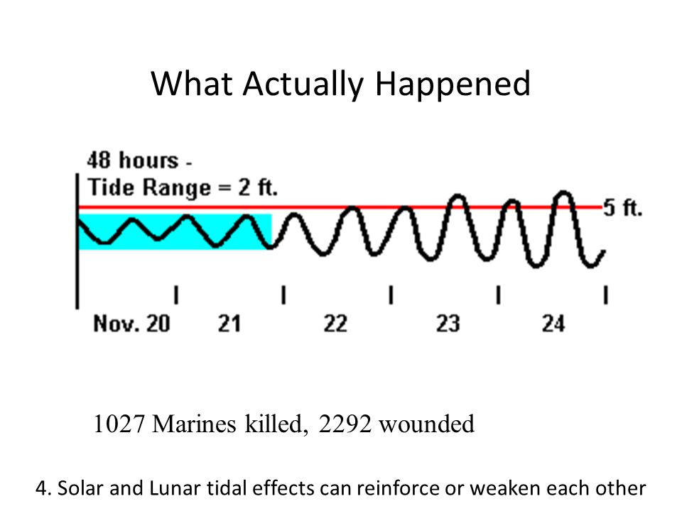 What Actually Happened 1027 Marines killed, 2292 wounded 4.