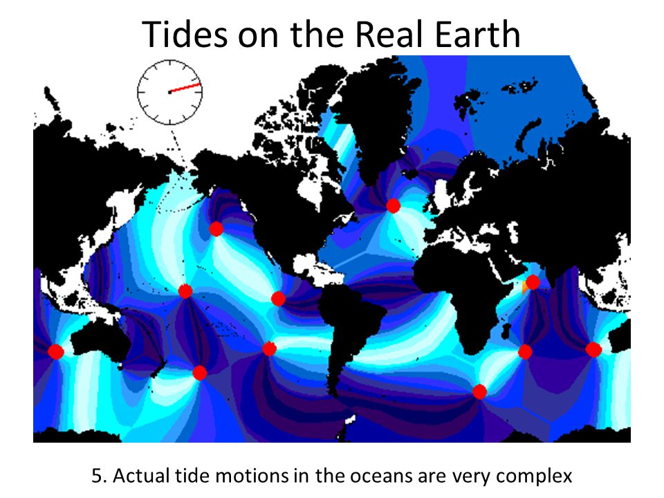 Tides on the Real Earth 5. Actual tide motions in the oceans are very complex