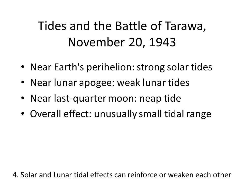 Tides and the Battle of Tarawa, November 20, 1943 Near Earth's perihelion: strong solar tides Near lunar apogee: weak lunar tides Near last-quarter mo