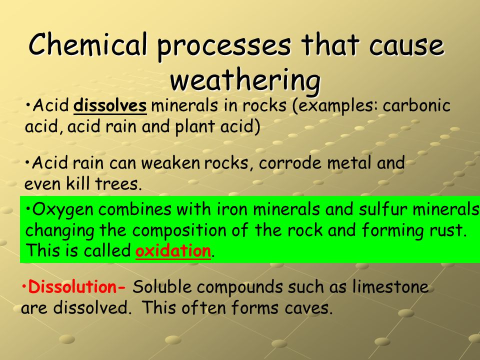 Chemical processes that cause weathering Dissolution- Soluble compounds such as limestone are dissolved. This often forms caves. Acid dissolves minera