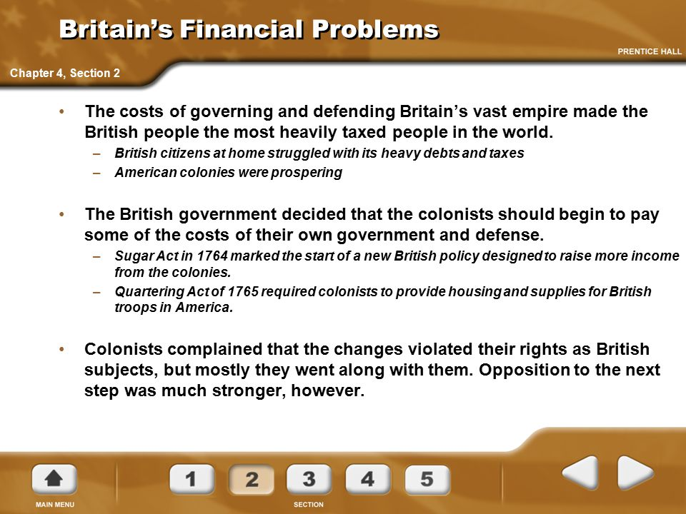 Britain's Financial Problems The costs of governing and defending Britain's vast empire made the British people the most heavily taxed people in the w