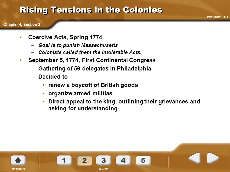 Rising Tensions in the Colonies Coercive Acts, Spring 1774 –Goal is to punish Massachusetts –Colonists called them the Intolerable Acts. September 5,