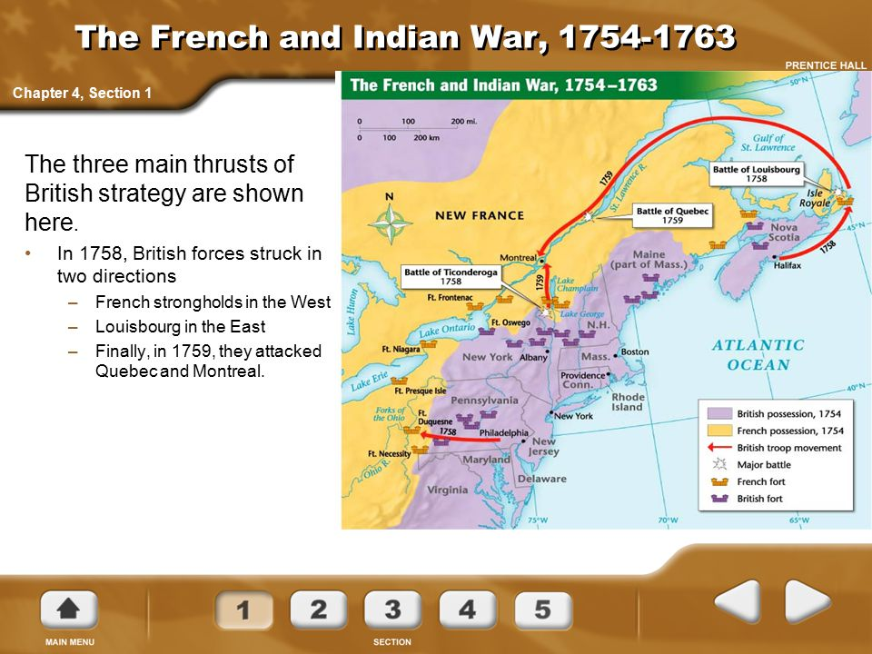 The French and Indian War, 1754-1763 The three main thrusts of British strategy are shown here. In 1758, British forces struck in two directions –Fren
