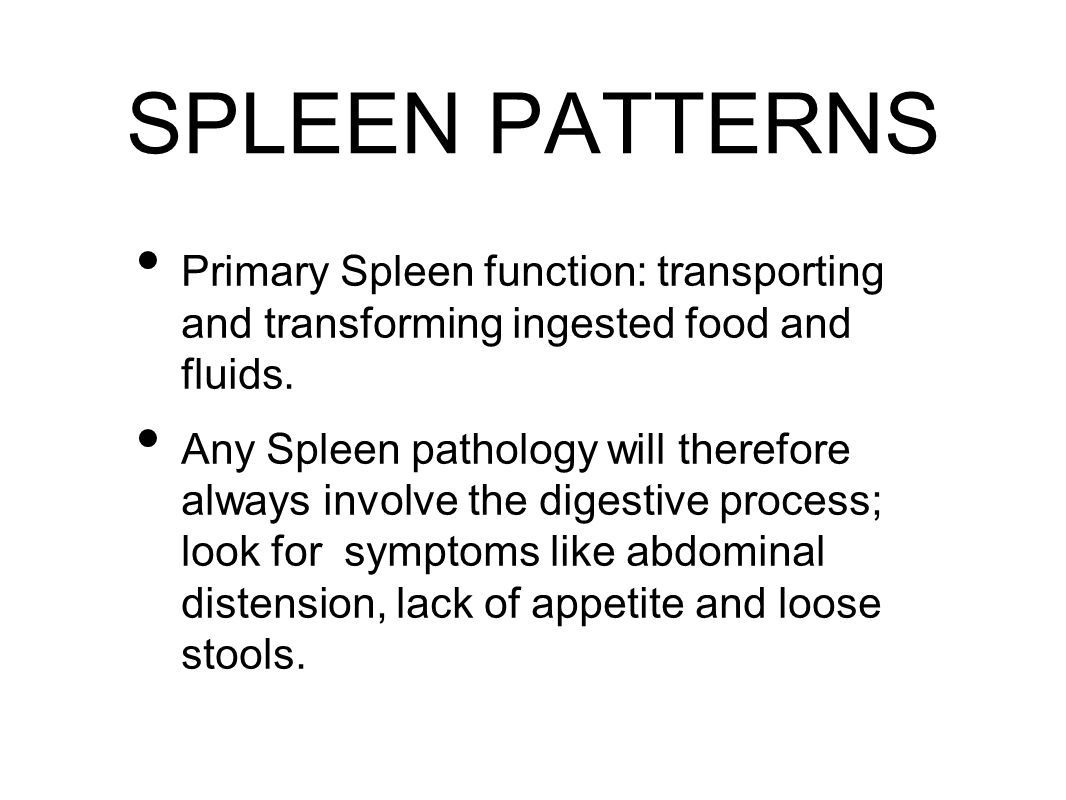 SPLEEN PATTERNS Primary Spleen function: transporting and transforming ingested food and fluids.