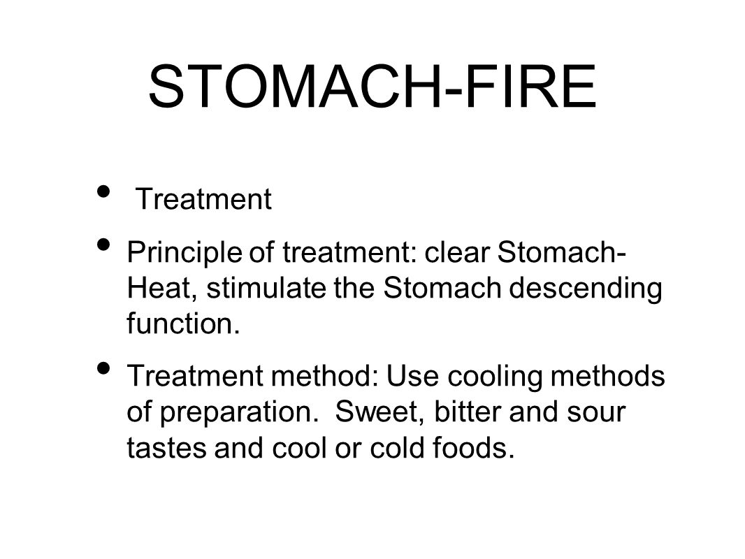 Treatment Principle of treatment: clear Stomach- Heat, stimulate the Stomach descending function.