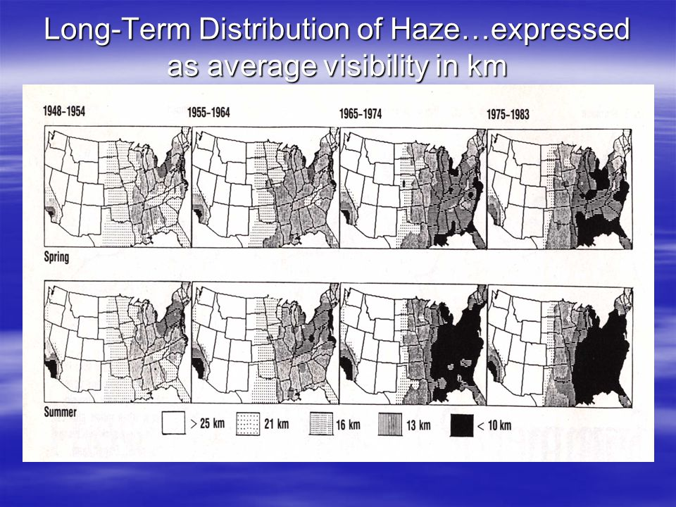 Long-Term Distribution of Haze…expressed as average visibility in km