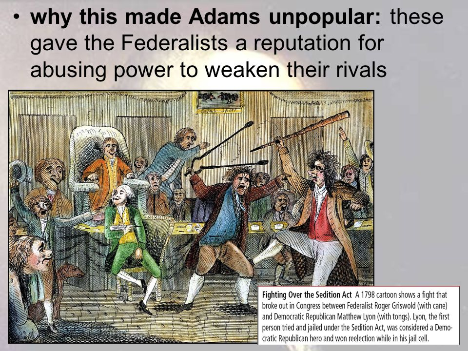 why this made Adams unpopular: these gave the Federalists a reputation for abusing power to weaken their rivals
