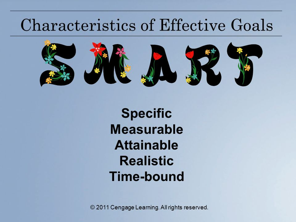 © 2011 Cengage Learning. All rights reserved. Characteristics of Effective Goals Specific Measurable Attainable Realistic Time-bound