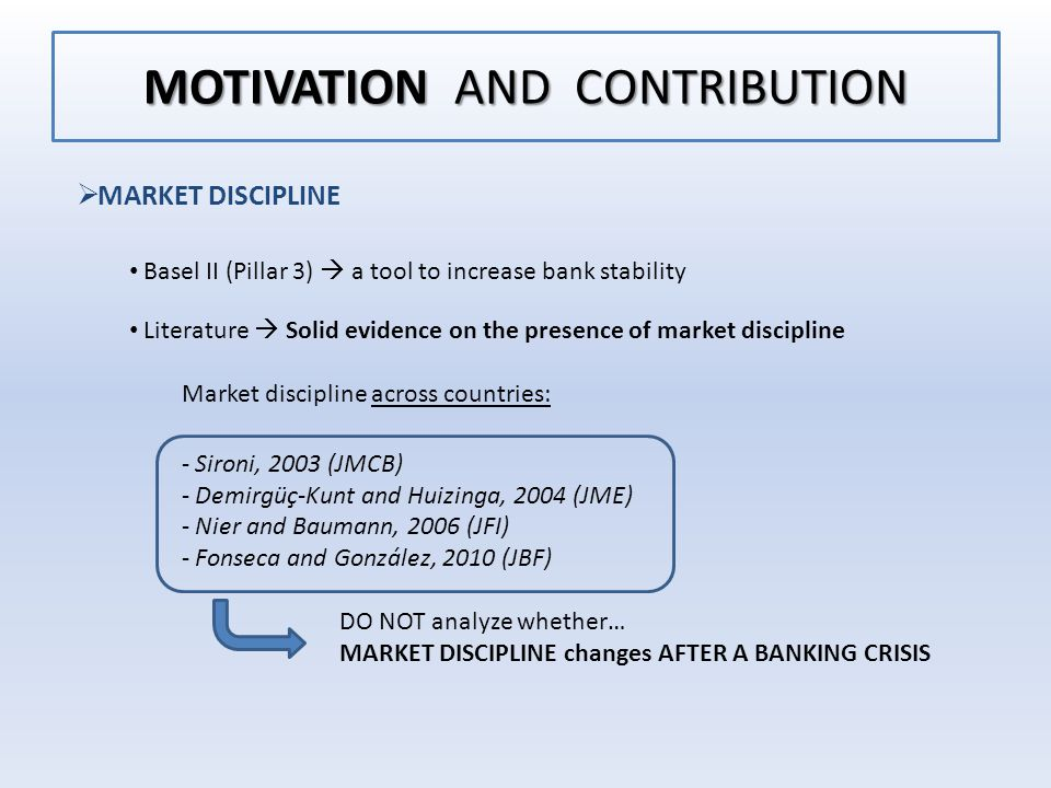 MOTIVATION AND CONTRIBUTION  MARKET DISCIPLINE Basel II (Pillar 3)  a tool to increase bank stability Literature  Solid evidence on the presence of market discipline Market discipline across countries: - Sironi, 2003 (JMCB) - Demirgüç-Kunt and Huizinga, 2004 (JME) - Nier and Baumann, 2006 (JFI) - Fonseca and González, 2010 (JBF) DO NOT analyze whether… MARKET DISCIPLINE changes AFTER A BANKING CRISIS