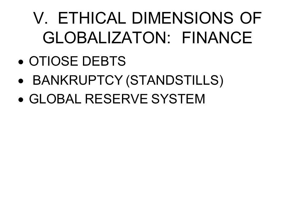 V. ETHICAL DIMENSIONS OF GLOBALIZATON: FINANCE  OTIOSE DEBTS  BANKRUPTCY (STANDSTILLS)  GLOBAL RESERVE SYSTEM