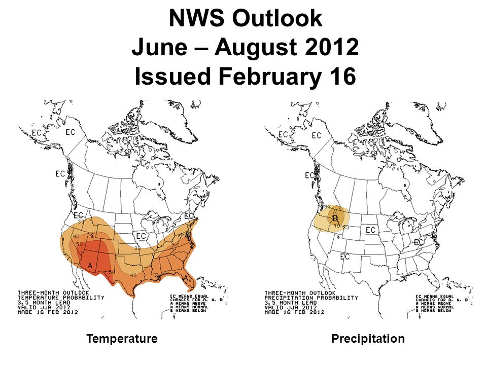 NWS Outlook June – August 2012 Issued February 16 TemperaturePrecipitation