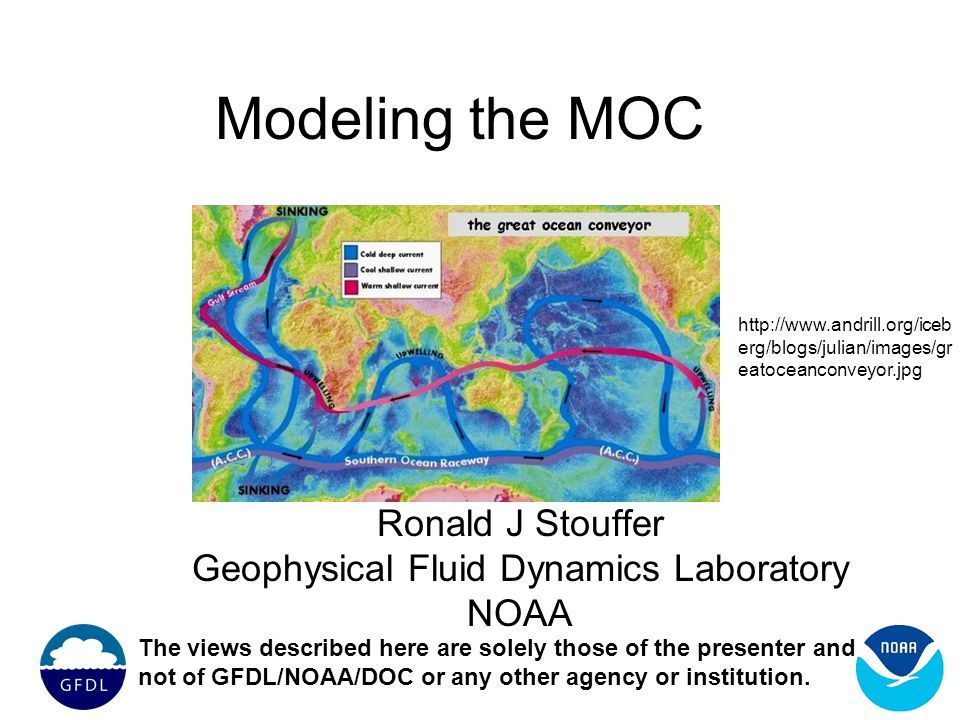 Modeling the MOC Ronald J Stouffer Geophysical Fluid Dynamics Laboratory NOAA The views described here are solely those of the presenter and not of GFDL/NOAA/DOC or any other agency or institution.