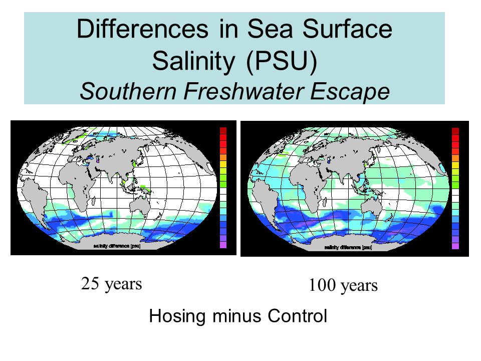 Differences in Sea Surface Salinity (PSU) Southern Freshwater Escape 25 years 100 years Hosing minus Control