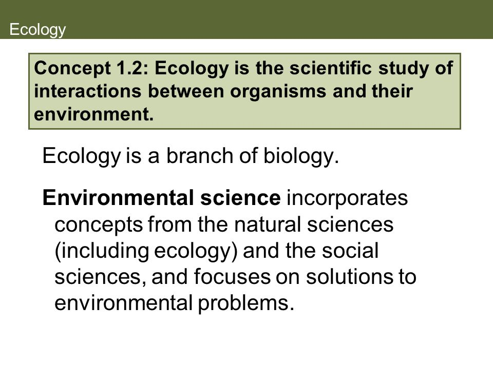 Ecology Ecology is a branch of biology. Environmental science incorporates concepts from the natural sciences (including ecology) and the social scien