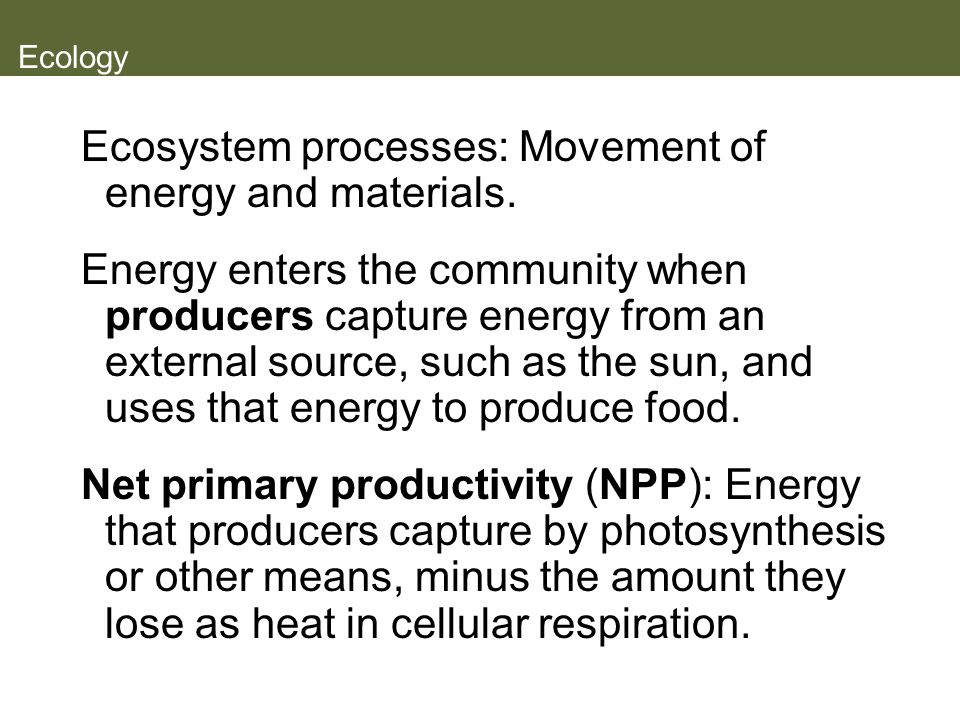 Ecology Ecosystem processes: Movement of energy and materials. Energy enters the community when producers capture energy from an external source, such